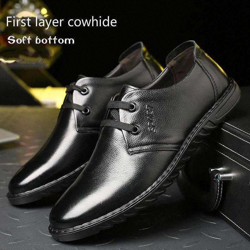 2019 Новый 100% Кожаный Бизнес Повседневная Мужская Обувь Плоская Нижняя Дышащая Ленивая Обувь Одиночная мягкая Нижняя Носить Yeeloca 22ex #