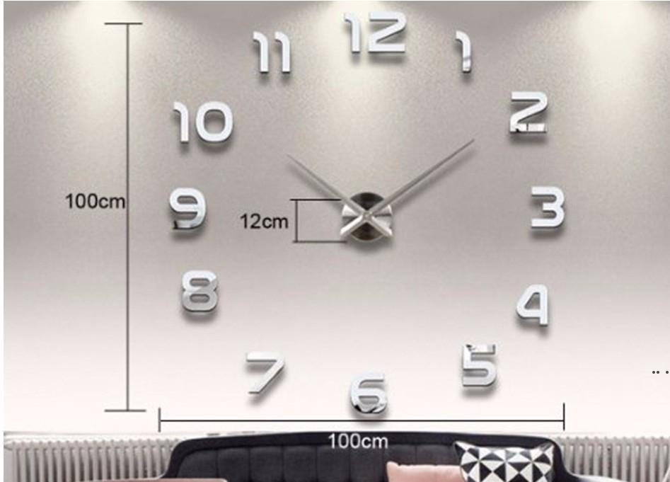 Ev Dekorasyon Büyük Numarası Ayna Duvar Saati Modern Tasarım Büyük Duvar Saati 3D İzle Duvar Benzersiz Hediyeler HWB5336