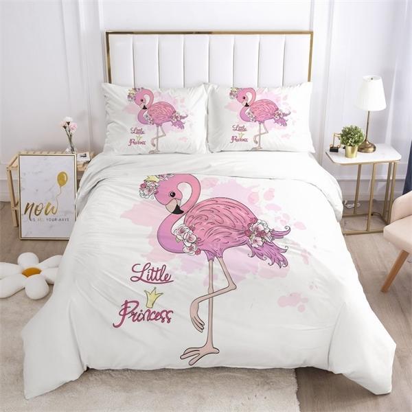 Girls Princess Cartoon Bedding Set for Baby Kids Children Crib Duvet Cover Set Pillowcase Blanket Quilt Cover Cute Pink Flamingo C0223