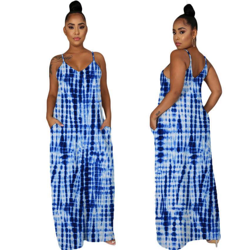 Галстук красит женские платья с карманами Летние без рукавов спагетти ремешок сексуальные дамы повседневные платья мода Vestido