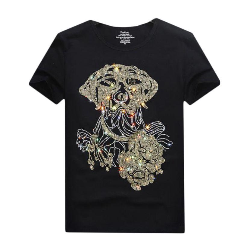 Vintage Rhinestone Tasarım Kısa Kollu T-shirt Erkekler Kadınlar Için - Yaz Ekip Boyun Casual Tops, Siyah