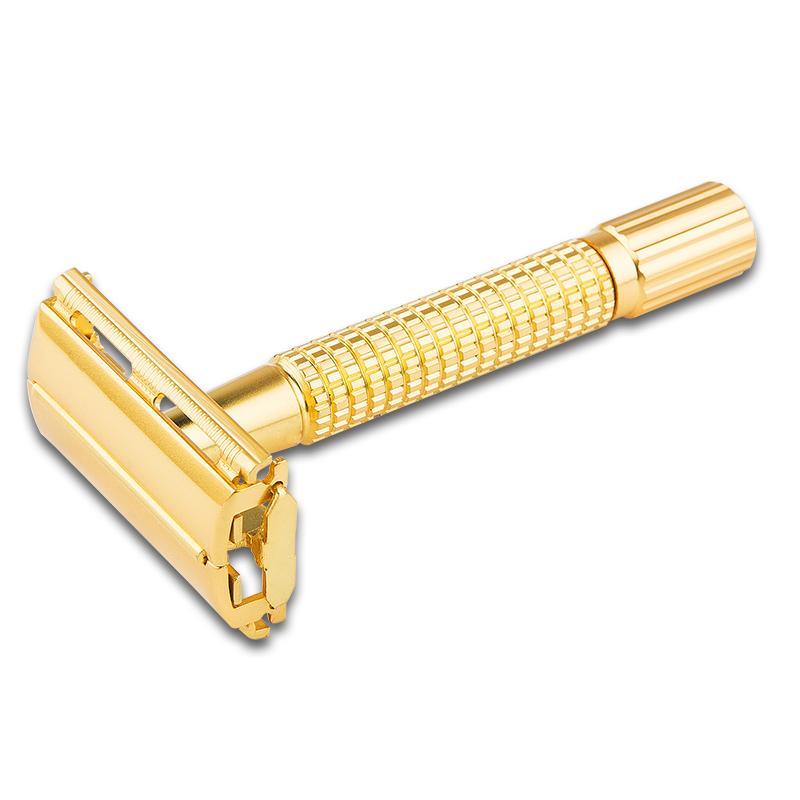 YINTAL Classic Dual Edge Manual Razor Short Brass Handle Safety Razors Gold Color Portable Travel Razors Men Shaving