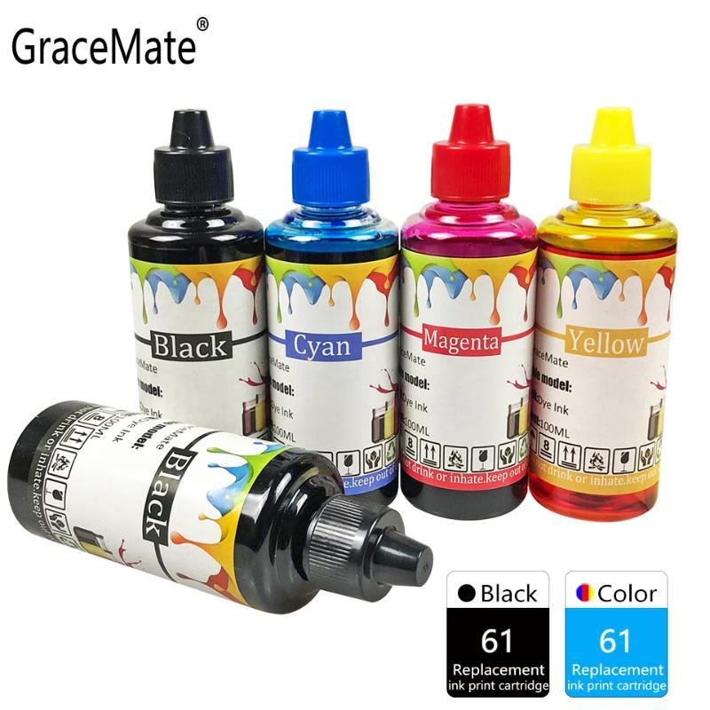 Gracemate Kit de recarga de tinta 61 compatível para Deskjet 2540 2541 2542 2543 2544 2546 2547 2548 2549 3050 3054 3060 3050a impressora