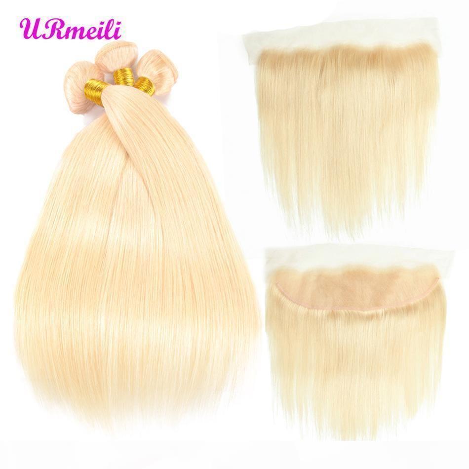 613 bundles blonds avec des cheveux vierges péruviens frontaux blonde 3 faisceaux avec fermeture Remy hétéro cheveux humains dhgate bundles avec frontal