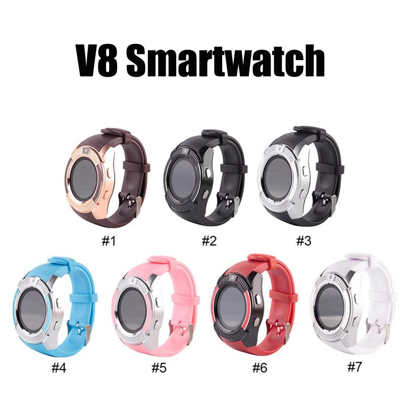 V8 Smart Watch Phone Phone Bluetooth 3.0 IPS HD Полный круг Дисплей MTK6261D SmartWatch для смартфона системы Android в поле