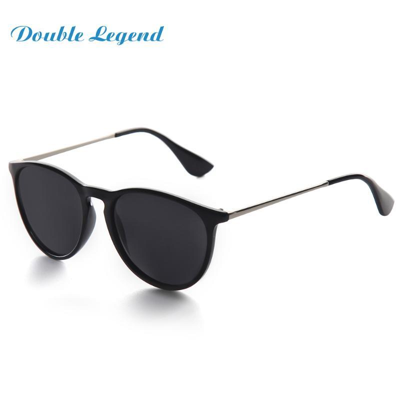 Солнцезащитные очки Двойная Легенда Женщины Мужчины Поляризованные Линзы Солнцезащитные Очки UV400 Защита Мода Черный ПК Круглая рамка
