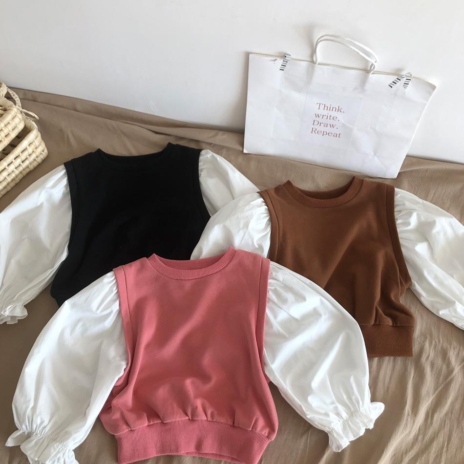INS Korean Style New Kids Little Girls Patchwork Sweatshirts Long Sleeve Winter Cotton Unisex Child Bountique Clothes Tops