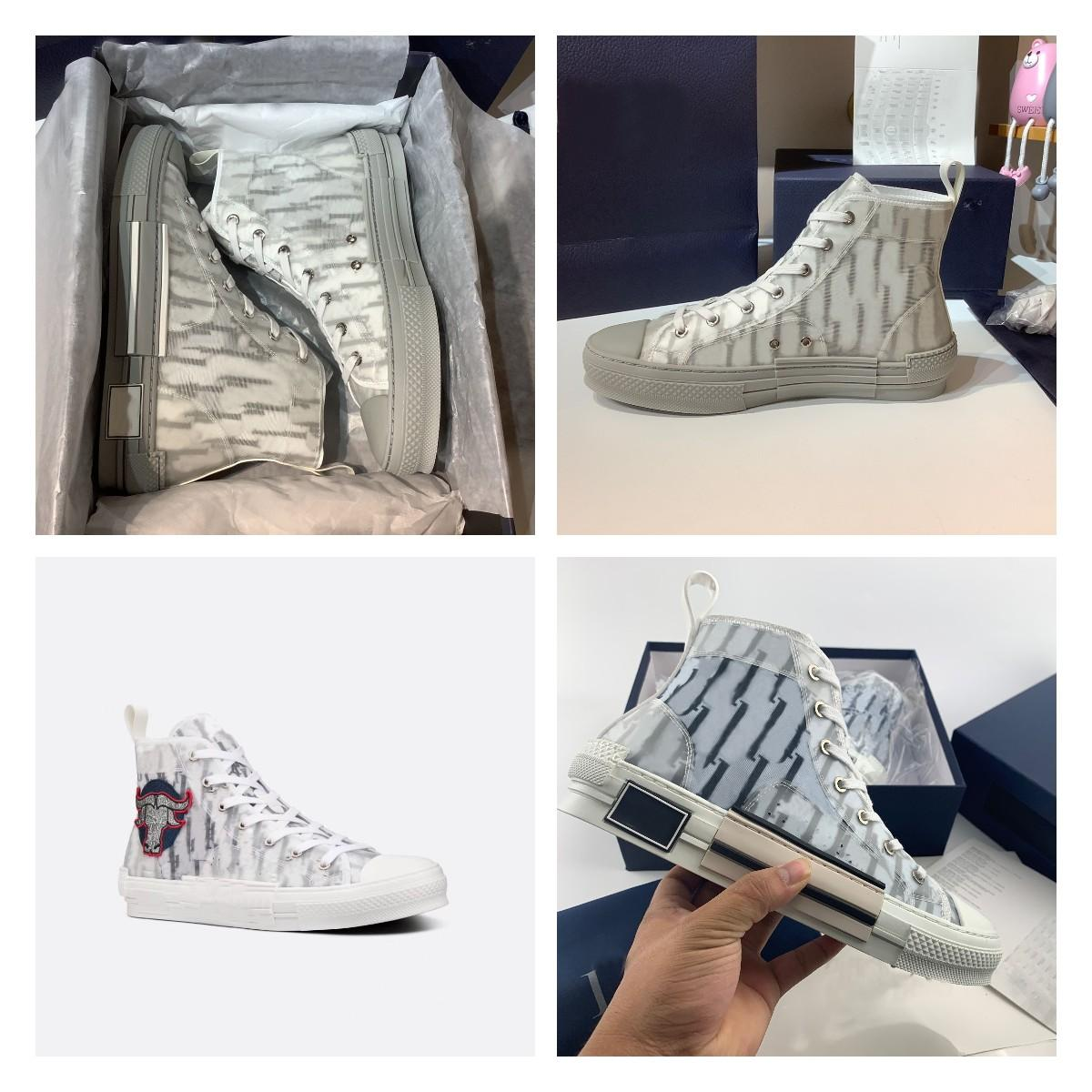 designer luxury sports shoes high quality leather oblique men's canvas shoes 19 lace up platform black and white blue SS women's shoes