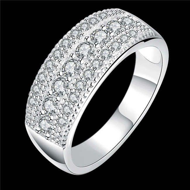 Hot Sale White Zircon 925 Silver Plate Ring DMSR784 Storlek 8, Nya Ankomst Sterling Silver Platiserade Ringar Smycken