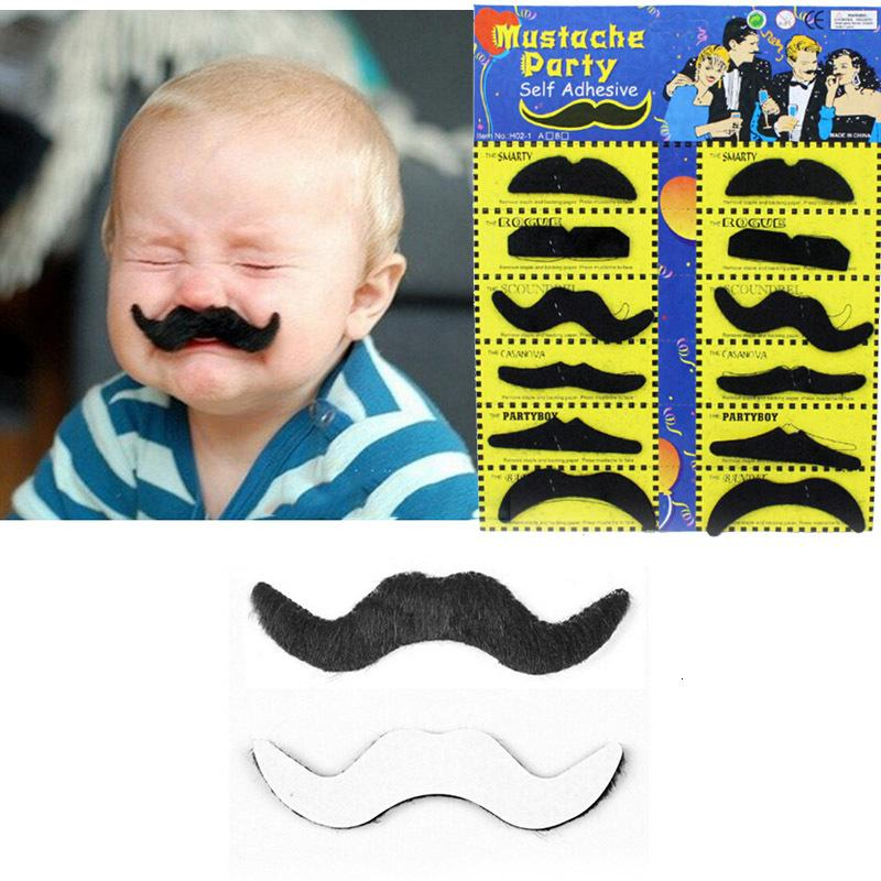 12pcs/set Halloween Party Costume Fake Mustache Moustache Funny Fake Beard Whisker Party Costume for Adult Kids Toys