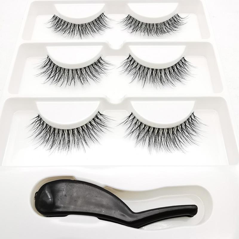 False Reelashes 50 коробок 3 Пары Невидимая прозрачная полоса 3d Глазные ресницы натуральные длинные метки + пинцет оптом