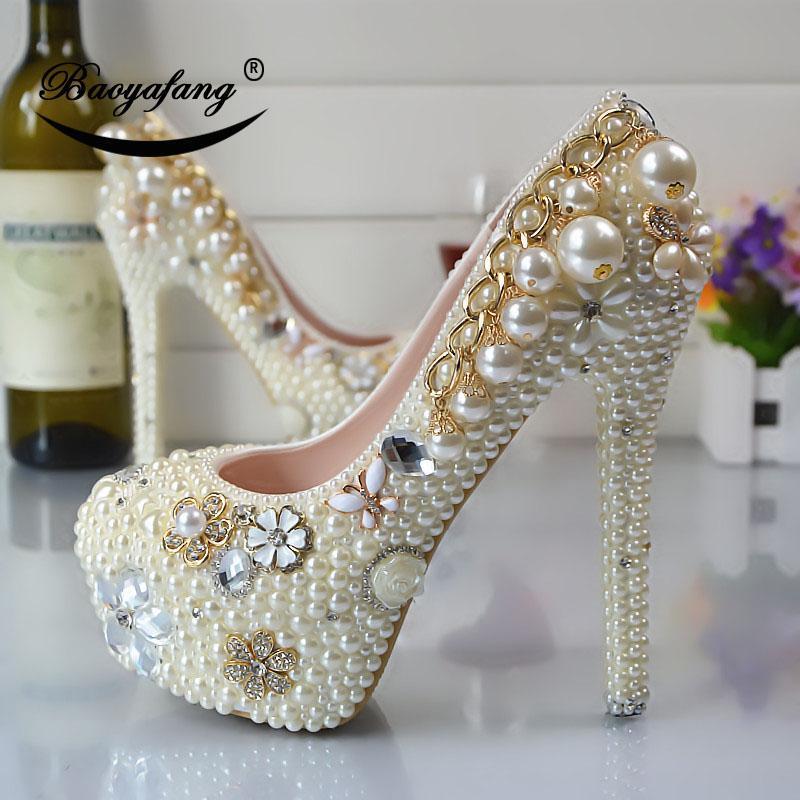Kleid Schuhe 2021 Ankunft Frauen Hochzeit Reis Weißer Strass Perle Braut Party Brautjungfer High Heels Plattformschuh