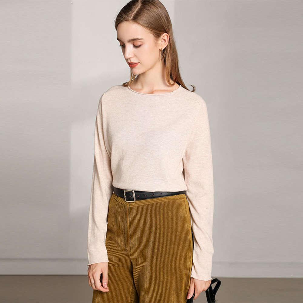 Осень и зимняя новая женская трикотажная одежда твердый размер свободных круглых шеи пуловер свитер женское модный свитер