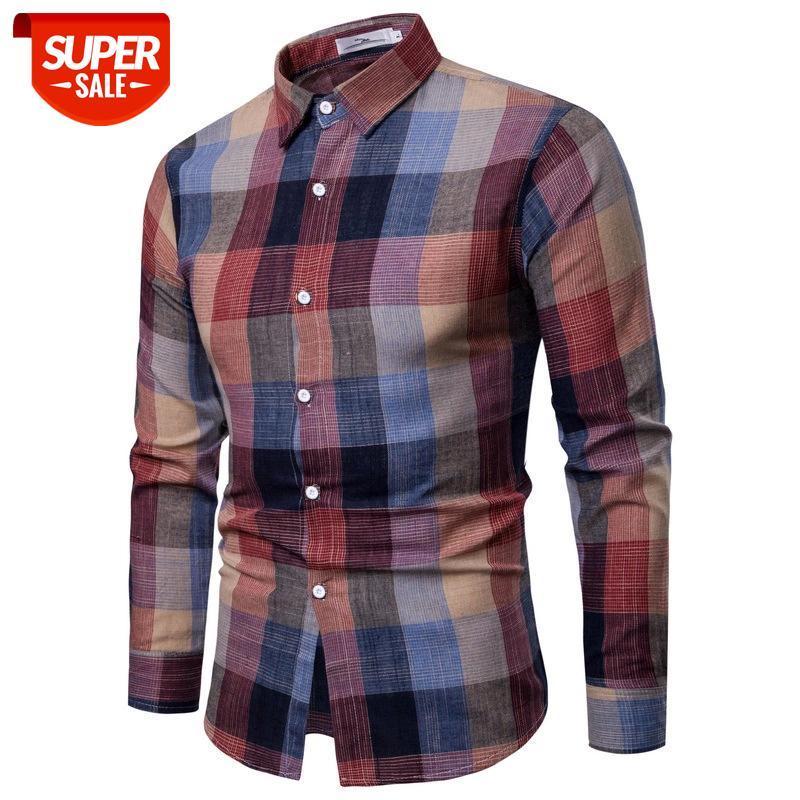2020 Vêtements pour hommes de grande taille Spring Automne Nouveau Coréen Slim Chemise à manches longues Décontracté Coton et lin Homme à carreaux Hommes # XV6Y