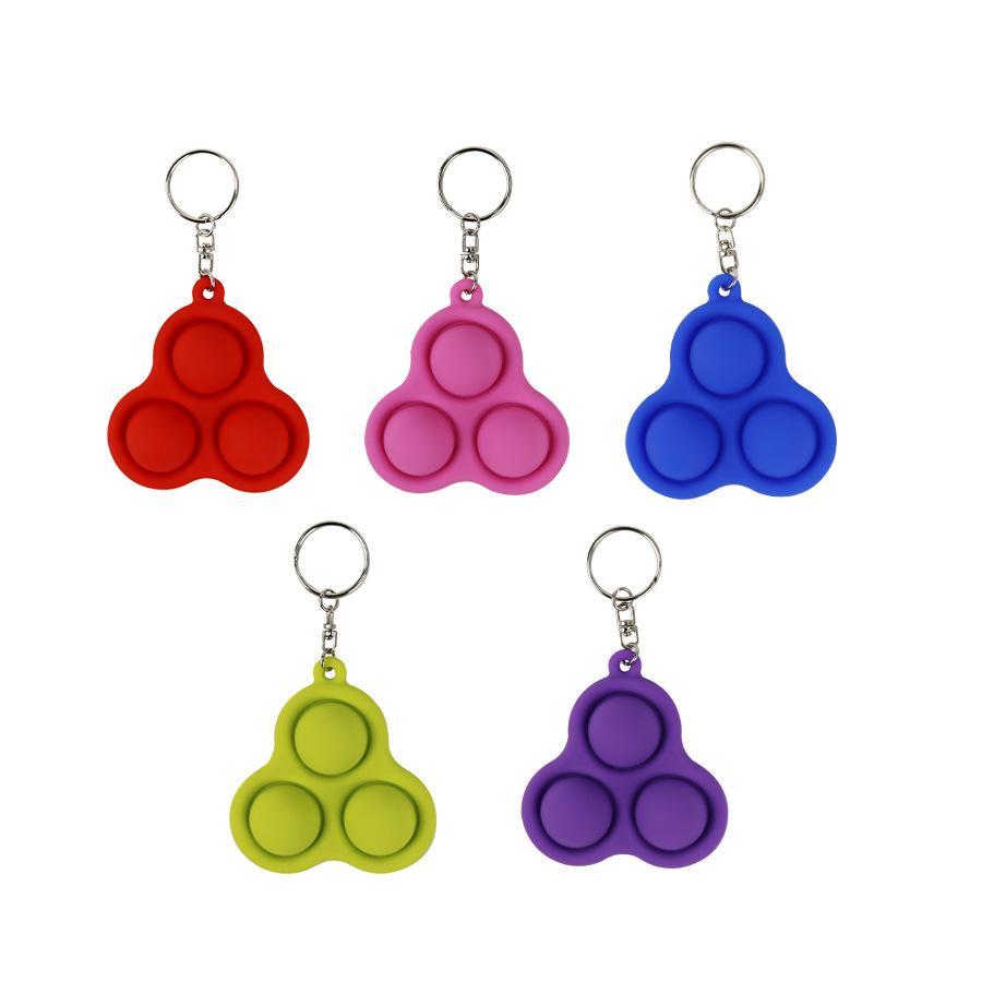 Schlüsselanhänger Zappeln Einfache Grübchen Spielzeug Dreieckkette Anhänger Multicolor Druckentlastung Auto Ornamente Geschenkketten WS11