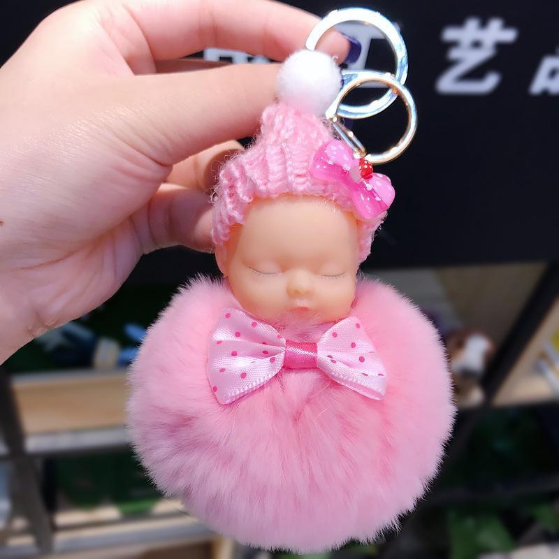 키 체인 귀여운 렉스 모피 pompom 잠자는 아기 Kawaii bowknot 인형 키 체인 반지 여성 가방 액세서리 자동차 열쇠 고리 k067-핑크