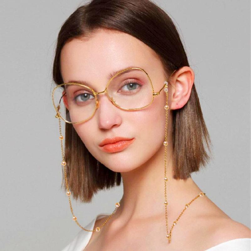 Sunglasses Frames 4pcs/set Masking Chains For Women Men Multiple Acrylic Pearl Crystal Eyeglasses 2021 Fashion Gift