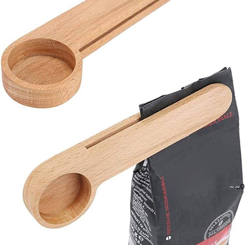 Дизайн деревянный кофе совок с сумкой клип стола столовая ложка твердой буковой древесины измерения чайной фасоли ложки клипы подарок оптом ewf8724