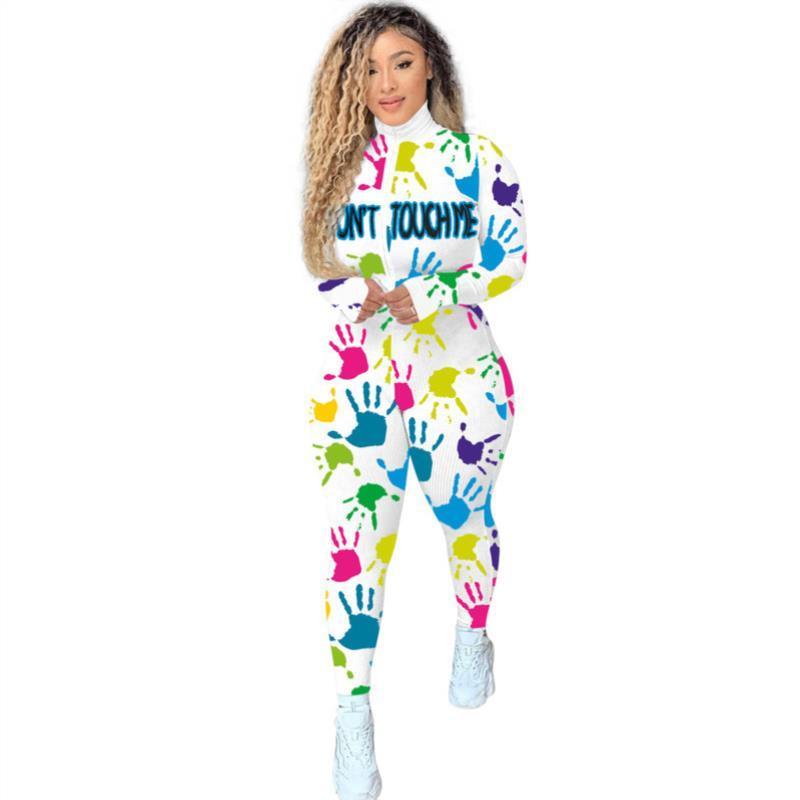 Mektuplar Kadın Tasarımcı Uzun Casual Kol Baskı DHL Yüksek Yaka Karikatürler Giyim Tulum Onesies Eğlence Spor Tulum Bayanlar QVRCJ