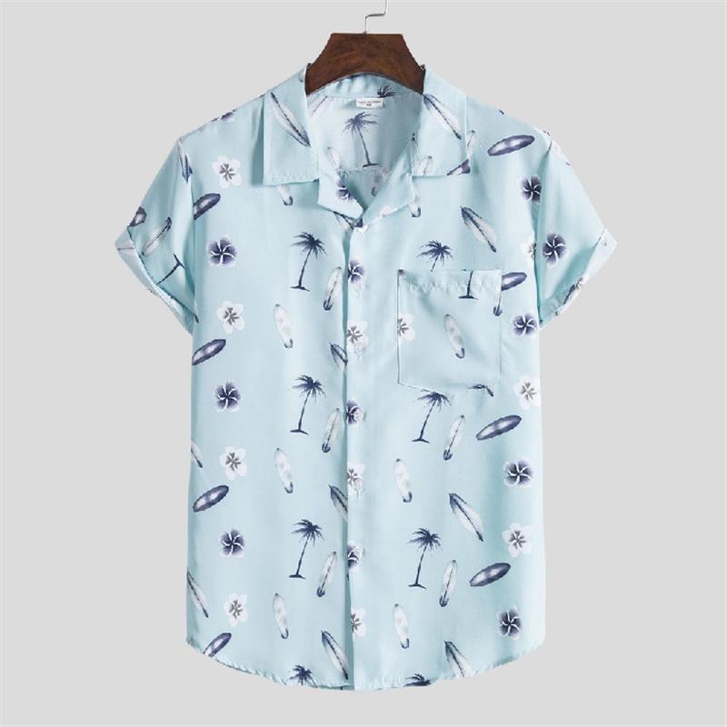 Hombres de verano Impreso Camisa de manga corta Turn-Down Cuello Streetwear Chic Suelte Hombre Hawaiian Shirts 2021 Vacaciones Camisa