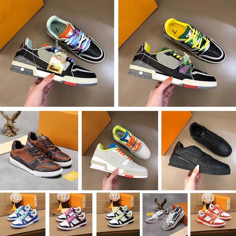Tasarımcı Moda Eğitmen Sneaker Intage Rahat Ayakkabılar Virgiller Timsah-Kabartmalı Siyah Gri Kahverengi Beyaz Yeşil Buzağı Deri Fransız Ablohs Erkek Ayakkabı