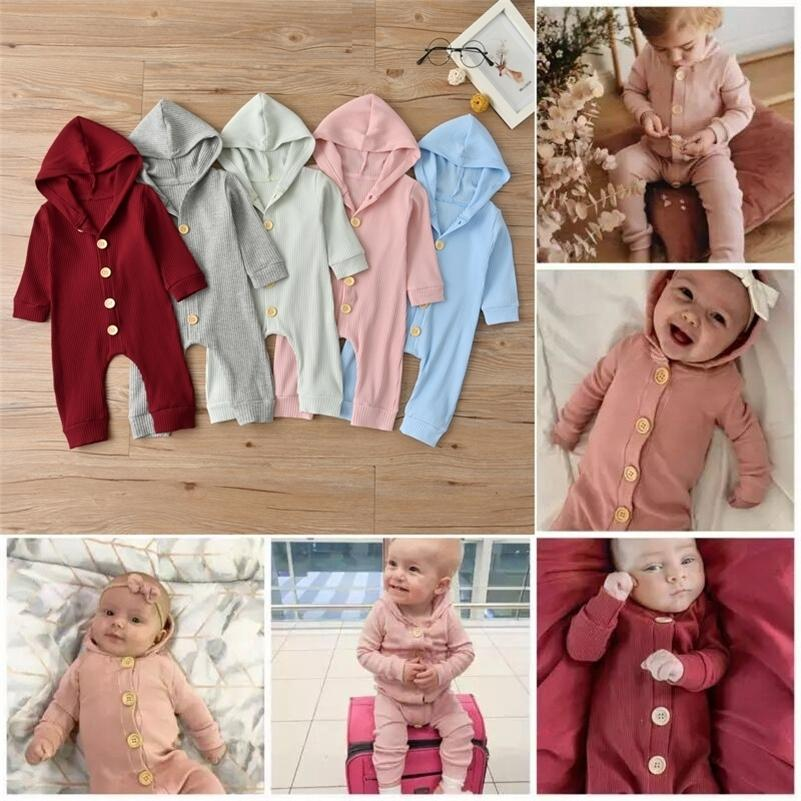 Ropa para bebés recién nacidos Baby Boys Girls Romper de manga larga Color Sólido Sudadera con capucha Mono Jumpsuit Trajes de ropa para niños 201216