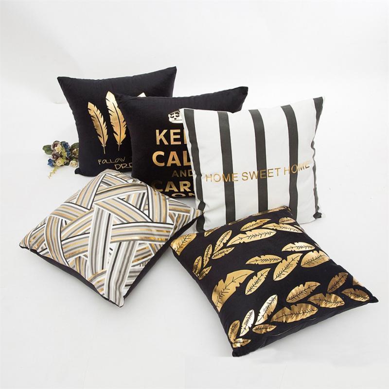 Kissen / dekorative Kissenpflanze Buchstaben gedruckt Bronzing Kissenbezug Gold Schwarz-Weiß-dekorativer Fall Sofa Goldene Kissenbezüge