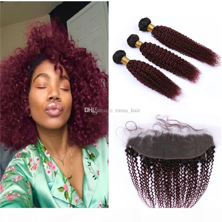 1b 99J Ombre Бургундия вьющиеся вьющиеся человеческие пакеты волос с лобным кружевным замыканием Cinkys вьющиеся темные корни вино красный омбре девственница малазийские волосы