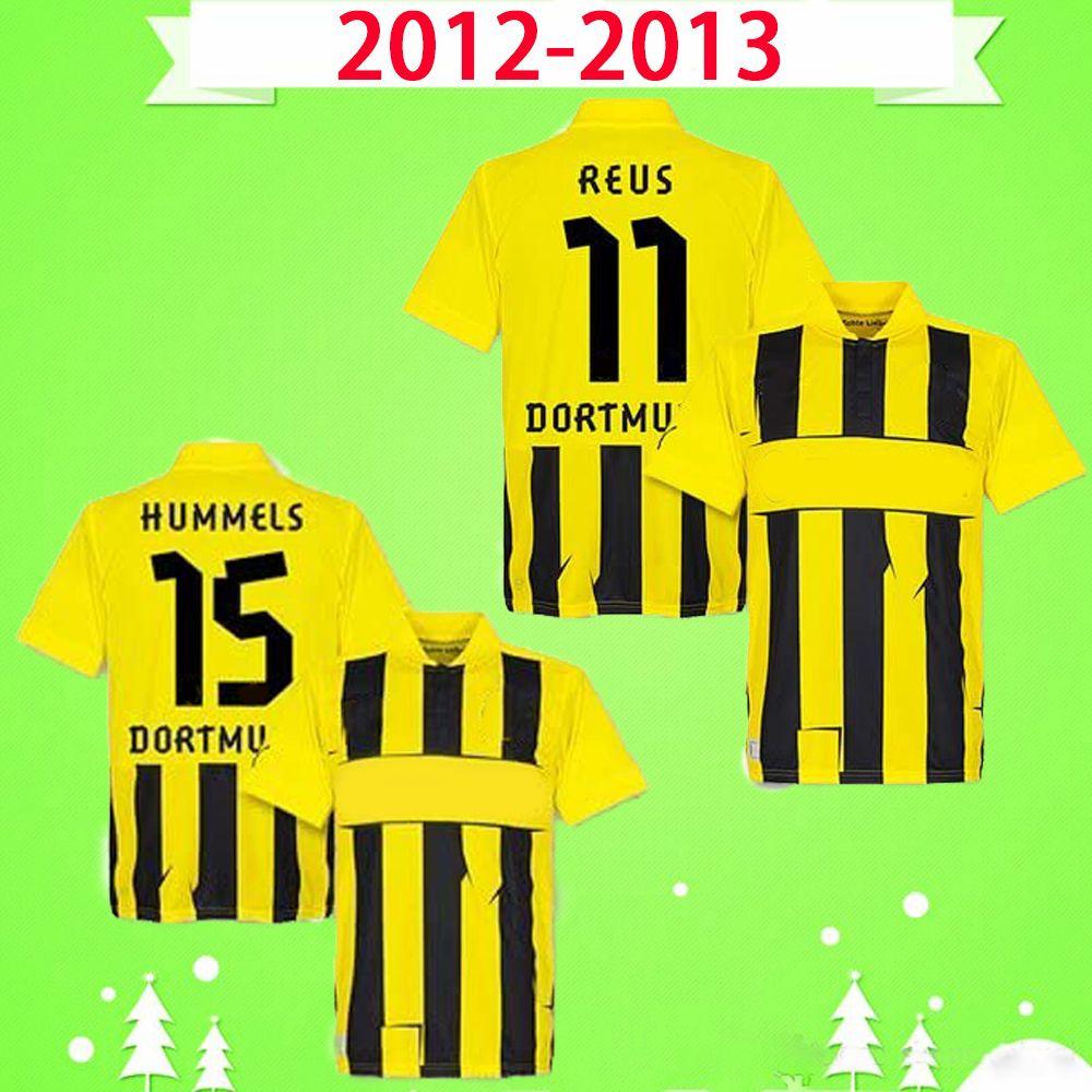 Borussia Dortmund BVB Coppa 2012 2013 Retro Soccer Jerseys 12 13 Home Giallo Nero Vintage Classic Football Camicie Reus Hummels Lewandowski Kagawa M.Götze