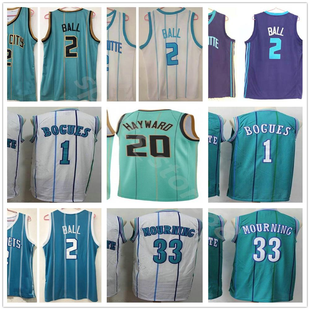 2021 Herren # 2 Lamelo Ball Basketball Jersey Gordon 20 Hayward Retro Vintage 1 Tyrone Bogues 2 Larry Johnson Alonzo 33 Trugtrikern