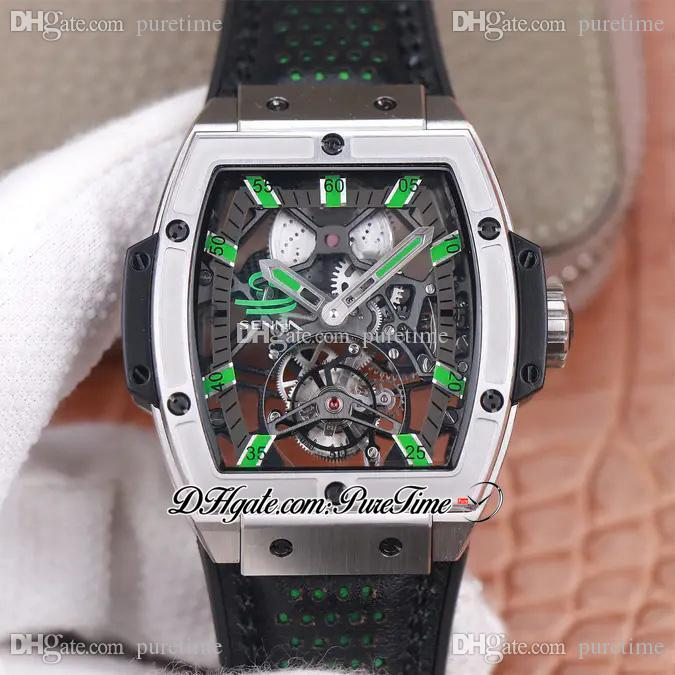 JBF MP 06 Spirit HUB9006 Automatic Complicated Tourbillon Mens Watch Skeleton Dial Green Markers Black Leather Super Edition 2021 Watches Puretime e5