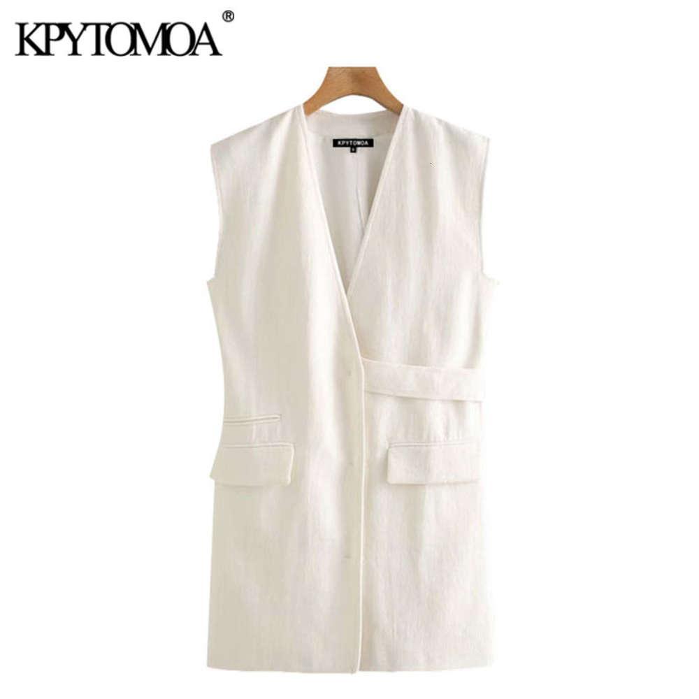 KPYTOMOA Women 2020 Fashion With Belt Loose Linen Waistcoat Vintage V Neck Sleeveless Female Vest Outerwear Chic Tops