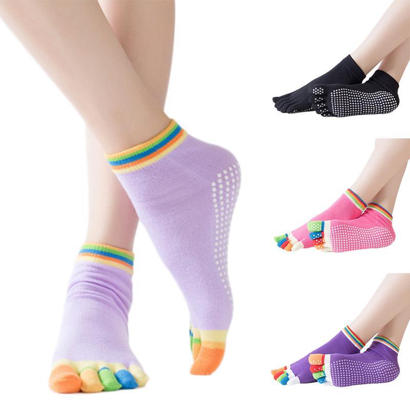 Yoga Socks Non-slip Anti-slip Pilates Barre Grip Socks Toe Cotton Ms. Men's Finger Yoga Socks