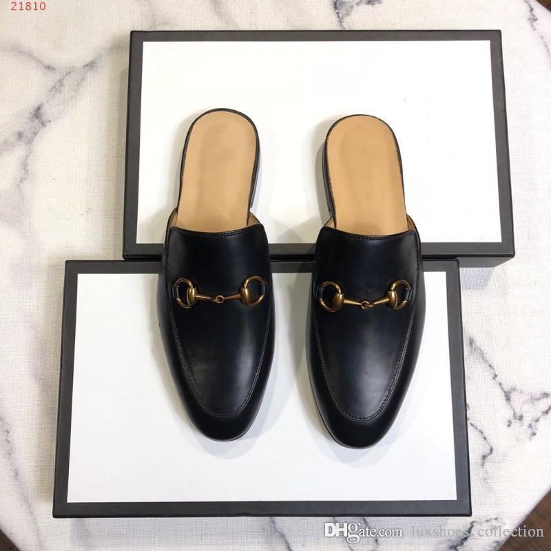 2019 جديد النعال الجلود الأوروبية والأمريكية النعال، العلامات التجارية الدولية الأحذية جلد طبيعي مسطحة