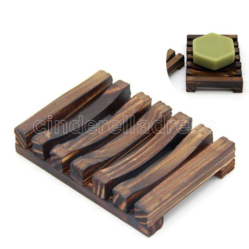 Tenedor de placa de placa de placa de madera de bambú natural Caja de la caja de la caja de la caja de la ducha del lavado de la ducha del sostenedor de jabón de la mano platos de jabón 2 colores