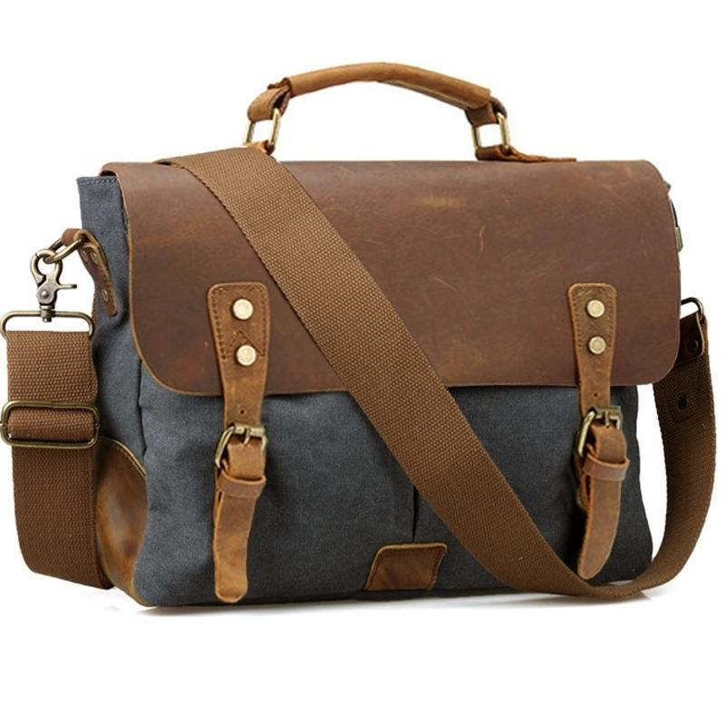Vintage Leder + Leinwand Männer Aktenkoffer Business Bag Portfolio Männer Büro Tasche Männliche Leinwand Aktentasche Attache Fall Dokument Tote 210305