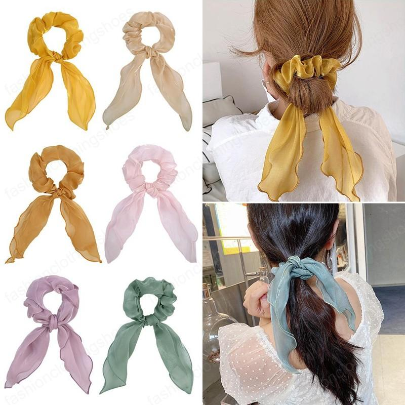 Fashion Women Girls kids Accessories Bowknot Elastic Hairbands Hair Ties Pure color satin cloth Ribbon Ponytail Holder Hairring