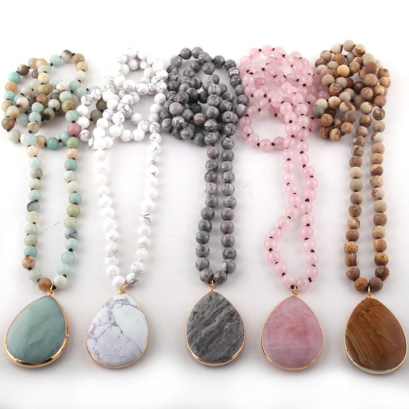 Fashion Bohemian Jewelry Natural Stone Knotted Stone Matching Drop Pendant Necklaces Women Beaded Necklace C0219