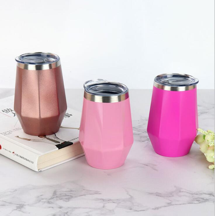 Wine Glasses Cup Mug Stainless Steel Tumbler Octagon Shaped Party Decoration Kitchen Drinkware Favors 12OZ