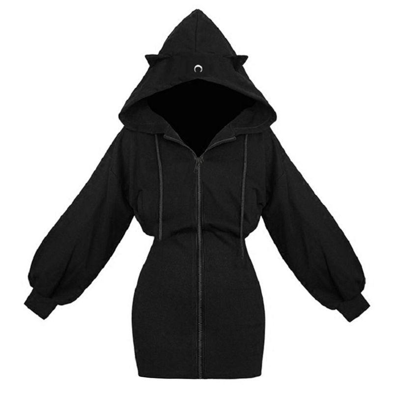 Invierno cálido larga sudaderas sudaderas sudaderas mujeres Moda patchwork linda oído gato sobre abrigo otoño cremallera gótico negro sudadera femenina 201203