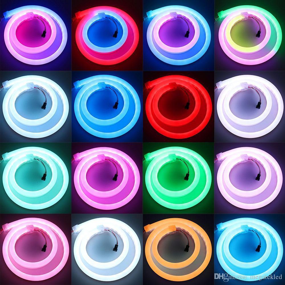 LED Magie Couleur Silicone Flexible Tube Néon Contrôle externe intégré Couleur Couleur Couleur Digital Pixel Néon Strip lumière 12V