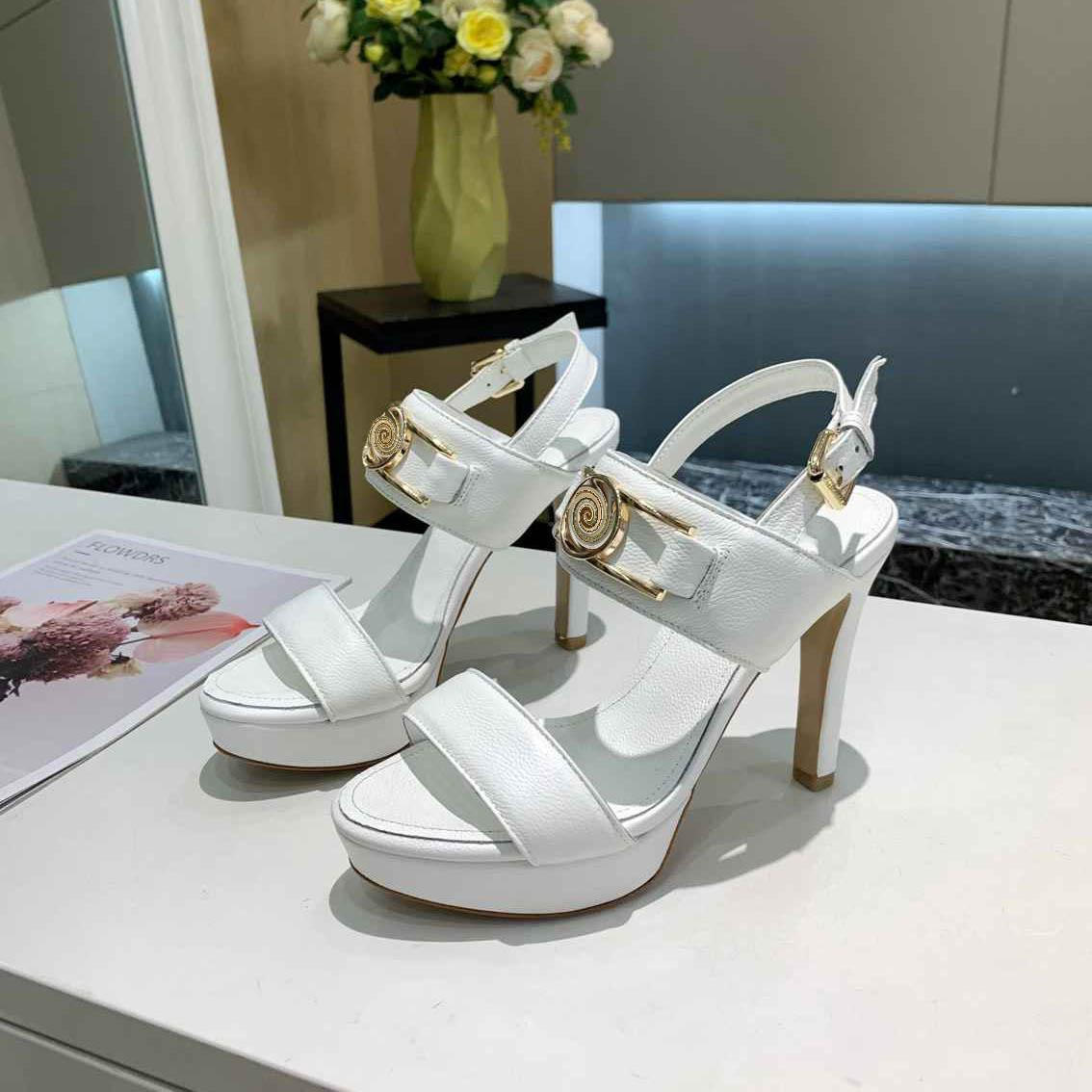 Diseñador de mujeres tacones altos 10,5 cm Sandalias Slippers Horsebit Slides Party Bombas de boda con caja