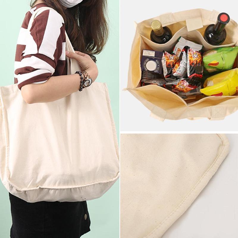 휴대용 캔버스 분할 그리드 가방 과일 야채 면화 가방 재사용 가능한 면화 Drawstring Shopper Tote Storage Bags