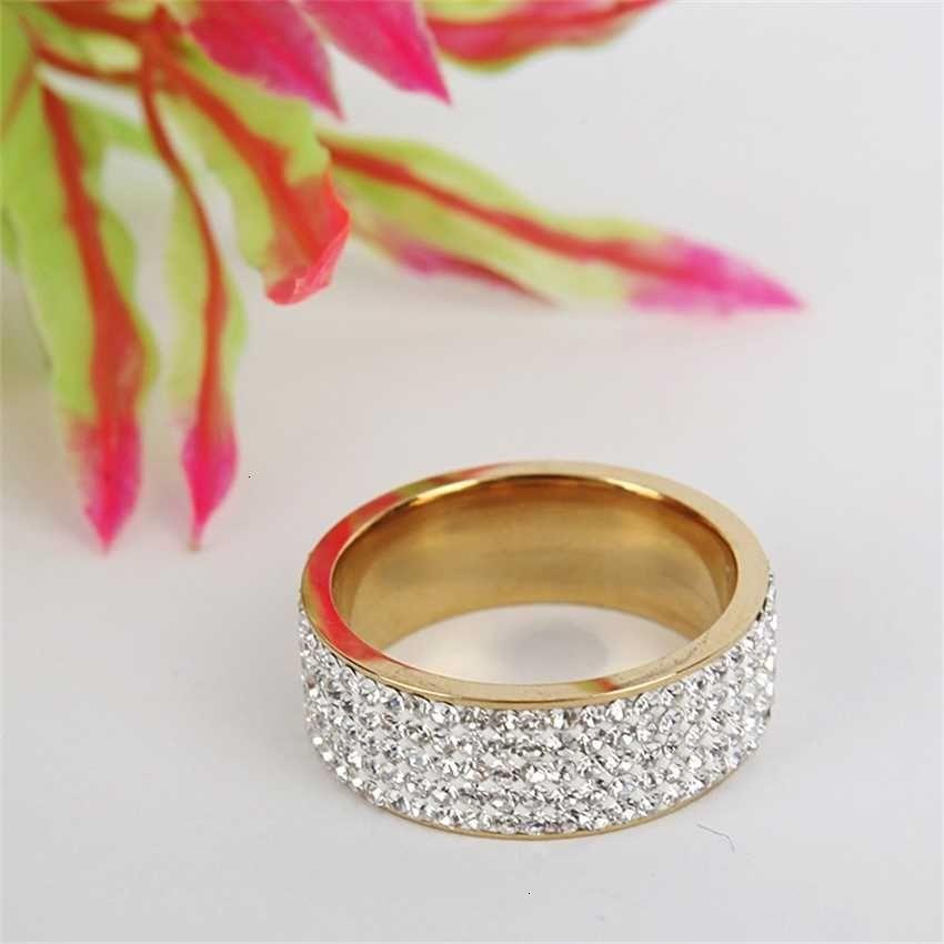 Factorybl2ygold Модный и популярный Серебряный Пять ряд Нержавеющая Сталь Глина Полное бриллиантовое кольцо
