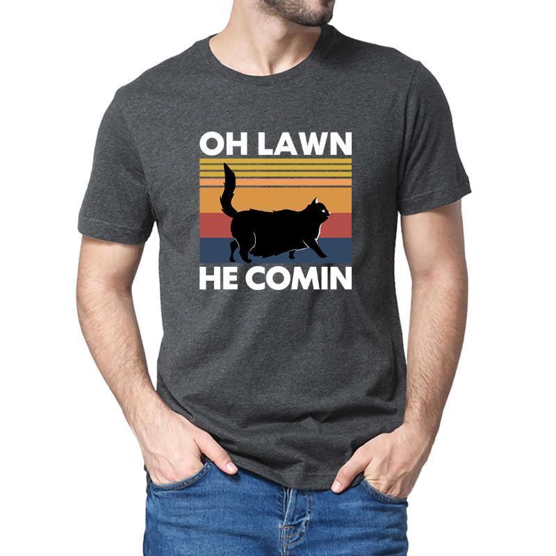 Erkek T-Shirt Unisex 100% Pamuk Kara Kedi Chonk Oh Çimen O Comin Komik Hediye Yaz T Gömlek Kadın Yumuşak Üst Tee