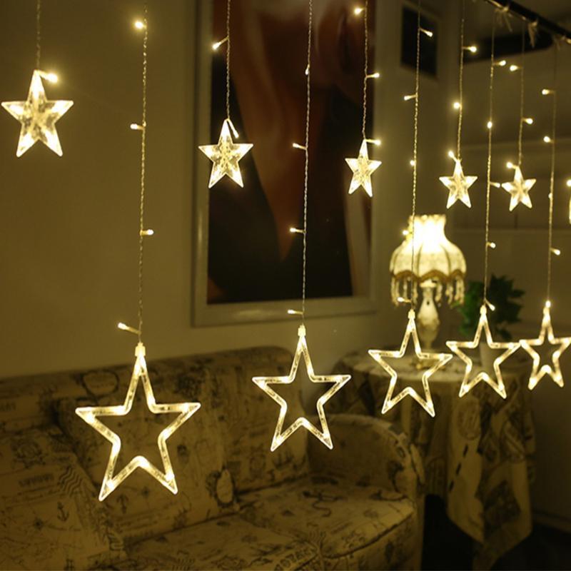 2,5 м светодиодные рождественские звезды занавес света 220 В рождественские гирлянды занавески света для рождества / свадьбы / вечеринка / праздник / украшения света