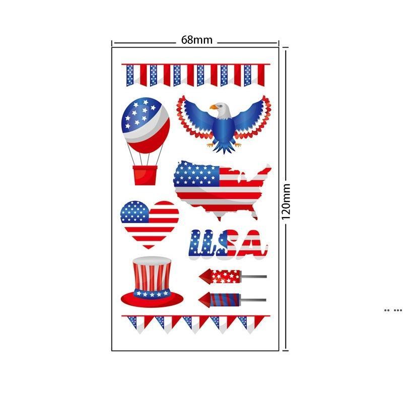 Amerikanische Unabhängigkeitstag-Flagge Tattoo Aufkleber Temporäre Gesicht Arm Körper Makeup Aufkleber 4. Juli Patriotische Tattoo Aufkleber DHD5312