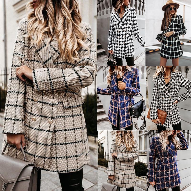 Kadın Takım Elbise Blazers Kış Uzun Kollu Kruvaze Takım Elbise Ceket Elbise Kadın Ekose Blazer
