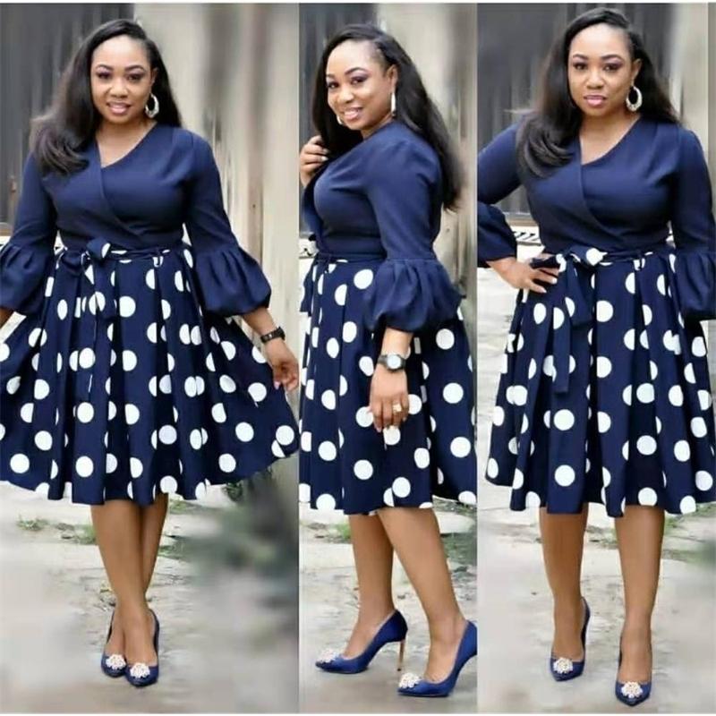 HGTE New Summer Elevent Moda Estilo Africano Mulheres Impressão Plus Size Polyester Dress L-3XL 210304