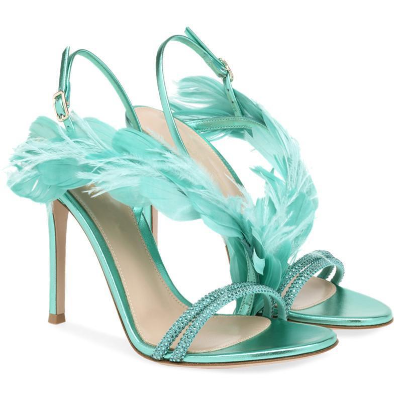 Сандалии перья декор женщин хрусталь 10 см высокие каблуки летние сандалиас моюрские насосы платье обувь женщина большой размер 42